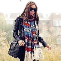 Multifunctional scarf large fashion bohemia female yarn knitted shawl stripe scarf Knitted Shawls, Crochet Scarves, Striped Scarves, Large Women, Long Scarf, Shawls And Wraps, Scarf Styles, Scarf Wrap, Boho Fashion