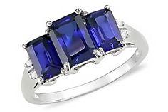 3 1/2 CARAT CREATED SAPPHIRE & DIAMOND 10K WHITE GOLD RING