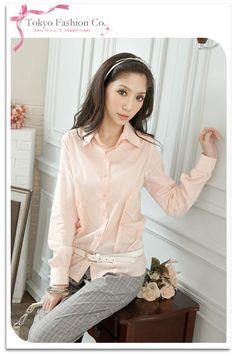 YESSTYLE: Tokyo Fashion- Long-Sleeve Shirred Blouse (Pink - One Size) - Free International Shipping on orders over $150