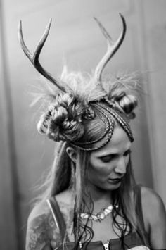 Look 3 - very dark steampunk/ post-apocalyptic look and feel using antlers braided into the hair.