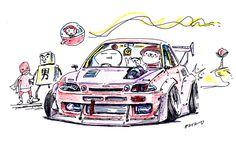 "car illustration ""crazy car art"" jdm japanese old school ""Z30 SOARER"" original cartoon ""mame mame rock"" / © ozizo"
