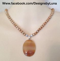 Agate stone pendant pearl necklace