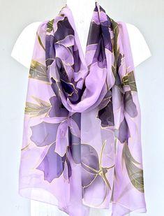 Hand Painted Silk Scarf Large Silk Scarf Bridal Chiffon Chiffon Shawl, Silk Shawl, Silk Chiffon, Purple Peonies, Pastel Purple, Traditional Japanese Kimono, Kimono Design, Purple Hands, Purple Scarves