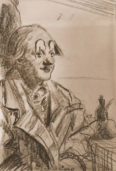 """Coco, Olympia 1935"" - drawing by Clifford Hall. Nicolai Poliakoff , the original ""Coco the Clown"", looking quite youthful, and I think genuinely happy here (he was 35) sitting for a quick portrait backstage at some point during the second season of Bertram Mill's legendary Christmas Circus at London's Olympia Exhibition Centre."