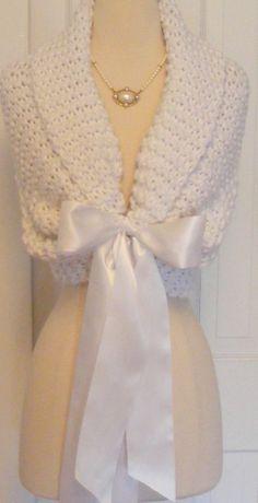 Wedding Shawl / Bride Bolero / Shrug / White by ElegantKnitting, $98.00