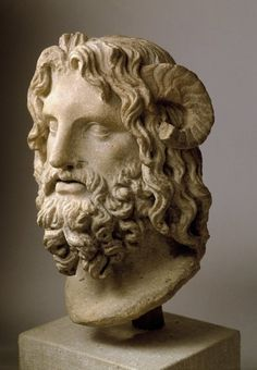 Head of Serapis Serapis - marble, composite god deliberately created early in the Ptolemaic Greek rule of Egypt, circa 75-150 C.E. Early Roman period, at Brooklyn Museum