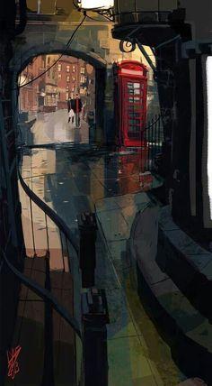 Dylan Dog - Gigi Cavenago - lighting and color palette and composition Illustrations, Illustration Art, Dylan Dog, Banners, Cityscape Art, Landscape Background, Environment Design, Traditional Art, Art Tutorials