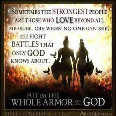 Warriors - men and women - sometimes must fight in dark and lonely places. But we are not alone. Our King knows where He has placed us. He watches over us. Angels fight beside us. And the enemy trembles at His Word and His strategies.