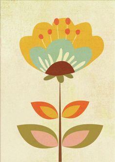 Leading Illustration & Publishing Agency based in London, New York & Marbella. Art Floral, Motif Floral, Retro Kunst, Retro Art, Illustration Blume, Scandinavian Folk Art, Floral Illustrations, Flower Art, Folk Art Flowers