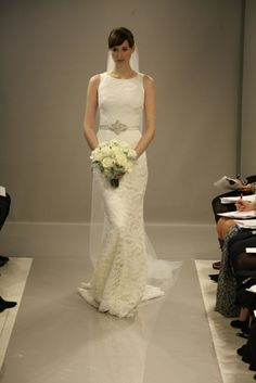 Lace dress with jeweled clasp belt