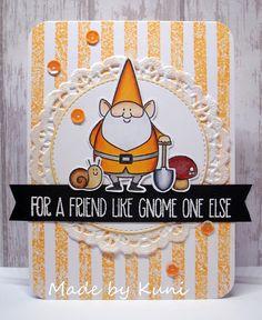 MFT You Gnome Me; stripes; doily; orange