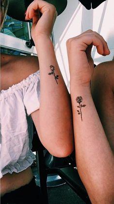 Rosa Tattoos, Tiny Rose Tattoos, Tiny Tattoos For Girls, Cute Tiny Tattoos, Bff Tattoos, Female Tattoos, Tattoos For Daughters, Tattoos For Women Small, Trendy Tattoos