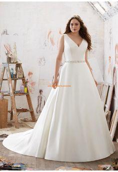 A-linie V-ausschnitt Günstige Brautkleider aus Satin mit Perlenstickerei