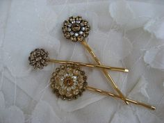 Golden Crystal Starburst Bobby Pins set of 3 by thepinkcamellia