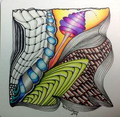 Coloured zentangle by David Feldkamp Tangle Doodle, Tangle Art, Zen Doodle, Doodle Art, Zentangle Drawings, Doodles Zentangles, Zentangle Patterns, Doodle Drawings, Relaxing Art