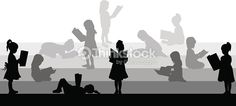 Clipart vectoriel : Silhouette of a girl reading a book.