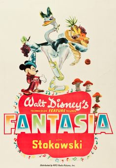 """Walt Disney's Fantasia, 1940, developed from an animated short based on Paul Kukas' musical piece, """"The Sorcerer's Apprentice""""."""