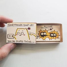 """Friendship Card/ Friend Valentine Matchbox/ Gift box/ """"Good friend don't let you do stupid thing alone""""/ Matchbox Crafts, Matchbox Art, Cute Crafts, Diy And Crafts, Paper Crafts, Tarjetas Diy, Cadeau Surprise, Friendship Cards, Diy Birthday"""