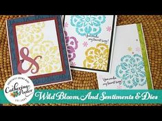 Wild Bloom, And Sentiments and Dies with Heat Embossing - YouTube