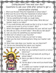 FREE This would make a great hand-out for back to school night or parent conferences! Engage in a thoughtful conversation with your child by using this list of open-ended questions to start the conversation flowing. Back To School Night, School Days, School Items, Curriculum Night, Emergent Curriculum, Ec 3, Parent Teacher Conferences, Parent Teacher Communication, Parent Involvement Activities