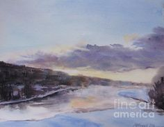 Title  Icy River Dawn   Artist  Martin Howard   Medium  Painting - Watercolour