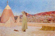 Algérie - Peintre Français Jules Charles Clément Taupin (1863–1932) , Huile sur toile , Titre: Muezzin sur la terrasse