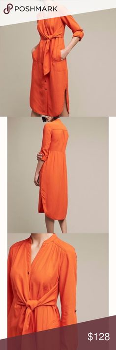 """Maeve Bright Orange Tie-Front Dress Rayon and linen blend. Side pockets. Button front with tie at waist for a casually sophisticated look. Ideal autumn color. Length {43.25"""" from shoulder.} Sold out style! Item looks exactly as pictured. Happy to consider offers within reason. Anthropologie Dresses"""