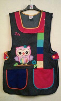 Modelo arcoiris Tergal marino Bordado buho arcoiris Teacher Apron, Sewing Aprons, Disney Mickey Mouse, Kids Wear, Needlework, Sewing Patterns, Applique, Activities, Couture