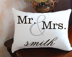 Mr and Mrs Pillow cover family sign throw by CreativePillow