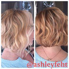 Honey blonde highlights short hair beauty by Ashley Feht in Baldwin Park Orlando