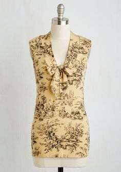 Housewarming Your Home Top in Toile. Your new abode feels all the more welcoming when you wear the soothing ecru tone of this top by California-based Effies Heart! #yellow #modcloth