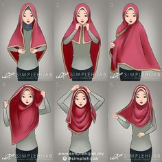 Square hijab tutorial - most useful with a wide square hijab or a wide shawl.