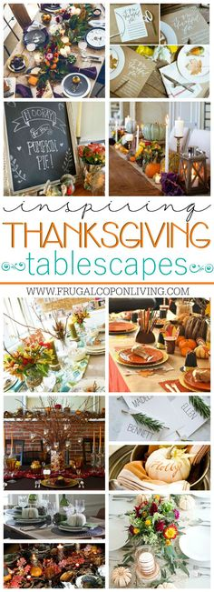 Inspirational Thanksgiving Tablescapes to help you create your perfect Autumn Table - Apples Gourds Pumpkins Pinecones Bark Burlap and More! Free Thanksgiving Printables, Thanksgiving Games, Thanksgiving Tablescapes, Thanksgiving Decorations, Thanksgiving Recipes, Friendsgiving Ideas, Thanksgiving Celebration, Thanksgiving Holiday, Seasonal Decor