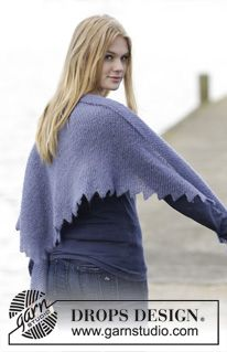 """Purple Dragon Shawl - Knitted DROPS shawl with tips in """"Brushed Alpaca Silk"""". - Free pattern by DROPS Design"""