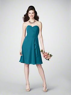 Teal Bridesmaids Dress from Alfred Angelo  Like your other one put length is shorter. May be easier to pull off?