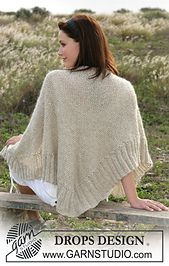 """DROPS Shawl knitted in moss stitches with """"Vivaldi"""" and """"Cotton Viscose"""". Free pattern by DROPS Design. Poncho Shawl, Knitted Poncho, Knitted Shawls, Drops Design, Moss Stitch, Seed Stitch, Shawl Patterns, Knitting Patterns Free, Free Pattern"""