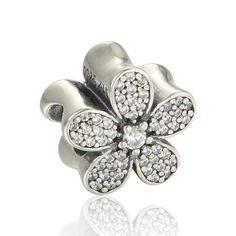 Authentiques En Argent Sterling 925 Éblouissant Fleur Marguerite Perles Breloques Correspondent Bracelets De Charme Européennes Pour