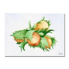 Hazelnuts ACEO Original Watercolor Painting Miniature