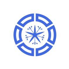 Muroran, Hokkaido  Ro: Muroran's picture-puzzle logo consists of six (mu) katakana ロ (ro) surrounding an orchid (ran).