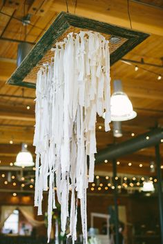 a chandelier of fabric streamers, photo by Angela Cox Photography… Diy Backdrop, Backdrop Decorations, Diy Wedding Decorations, Fabric Chandelier, Chandelier Makeover, Budget Wedding Invitations, May Weddings, Down South, Bridal Flowers