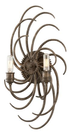 Buy the Troy Lighting Revolution Bronze Direct. Shop for the Troy Lighting Revolution Bronze Revolution 2 Light Double Wall Sconce and save. Bathroom Wall Sconces, Modern Wall Sconces, Candle Wall Sconces, Wall Sconce Lighting, Wall Fixtures, Industrial Ceiling Lights, Troy Lighting, Unique Lighting, Lighting Ideas