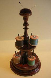 English Victorian Mahogany Sewing Stand / Spool Holder