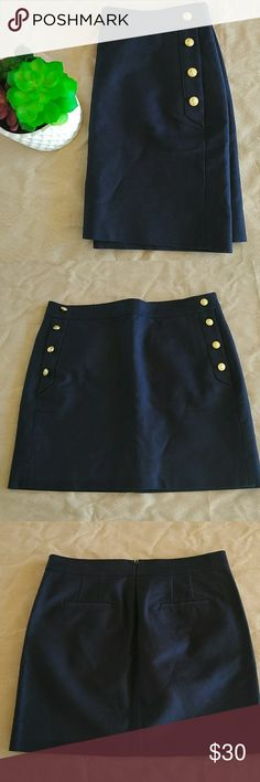 J. Crew Navy Blue Skirt With 2 side pockets J. Crew Skirts
