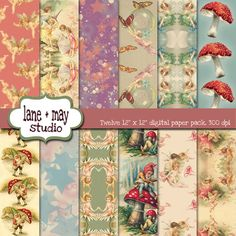 vintage fairies and gnomes digital scrapbook papers