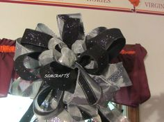 Stylish Black and Silver Christmas Tree Topper Bow by SGMCRAFTS