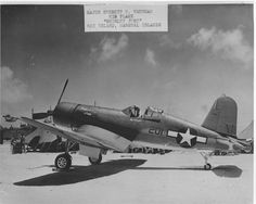 F4U Corsair aircraft of VMF(N)-532 is on the ground at Roi Island, Marshall Islands 1944