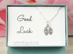 Lucky charm gift in a box good luck sterling by SilverStamped