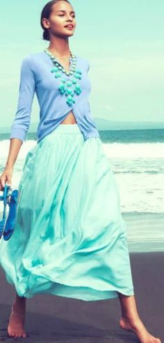 Fantastic summer style & color combo...totally need this sweater & wish I had someplace to wear the skirt, lol