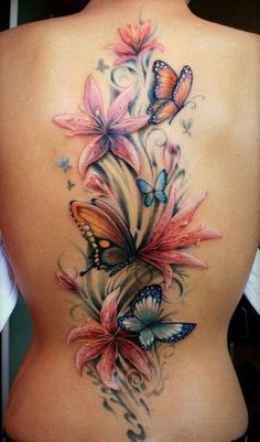 Cool Tattoos for Women - Watercolor Rainbow Flower Back