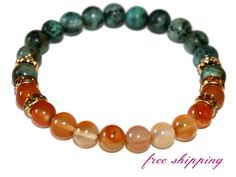 Carnelian & African Turquoise Bracelet Yoga Gifts Zen by ZenDeLux